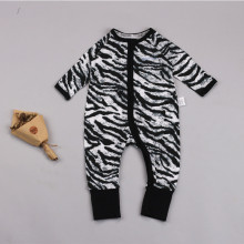 Baby Boy Zip-Up Zebra Print Cotton Long Sleeve One piece