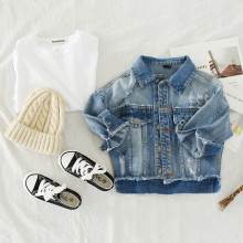 Toddler Girl Blue Ripped Denim Jacket Outerwear