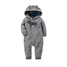Baby Boy Zip-Up Print Grey Deer Polar Fleece Long Sleeve One piece