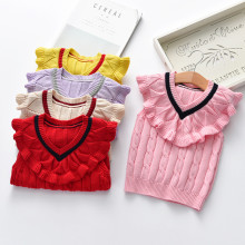 Toddler Girl Cable Knit Pullover Sweater Ruffled Collar Vest