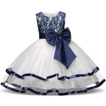 Girl Navy Lace Flower Bowknot White Tulle Princess Dresses