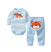 Baby Boy Print Sea Horse Two Pieces Long Sleeve Cotton Bodysuit and Pant
