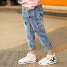 Toddler Girl Elastic Washed Denim Print Cherry Jeans Pants