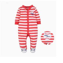 Baby Boy Snap-Up Red Stripes Footed Cotton Long Sleeve One piece (0-1Years)