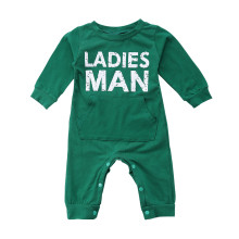 Baby Boy Snap-Up Green Slogan Cotton Long Sleeve One piece
