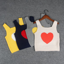 Toddler Girl Knit Pullover Vest Hearts Pattern Sweater
