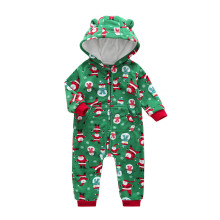 Baby Boy Zip-Up Green Christmas Polar Fleece Long Sleeve One piece