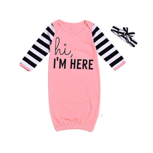 Baby Girl Slogan Cotton Stripes Long Sleeve Bodysuit Gown With Headband