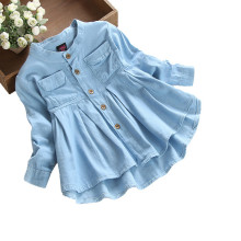 Toddler Girl Blue Long Sleeve Denim Blouse