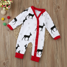 Baby Boy Snap-Up White Christmas Deer Cotton Long Sleeve One piece