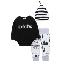 3PCS Baby Boy Black Print Tree Long Sleeve Romper Print Pants Bodysuit Hat Clothes Outfits Set