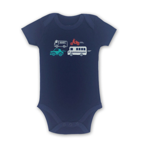 Baby Boy Navy Print Vehicle Short Sleeve Cotton Bodysuit