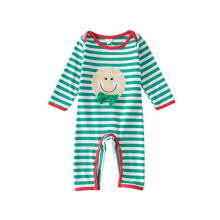 Baby Boy Snap-Up Green Stripes Baby Smile Face Cotton Long Sleeve One piece