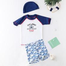 Kid Boys Print Slogan Swimwear Sets Short Sleeve Top and Shark Trunks With Swim Cap