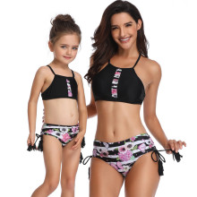 Mommy and Me Matching Swimwear Prints Flowers Tassels Bikini Swimsuit