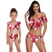 Mommy and Me Matching Swimwear Prints Red Leafs Rufflles Bikini Swimsuit
