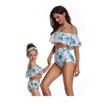 Mommy and Me Matching Swimwear Prints Flowers Rufflles Pom-pom Off Shoulder Bikini Swimsuit