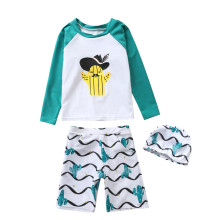 Kid Boys Print Cactus Swimwear Sets Long Sleeve Top and Shorts With Swim Cap