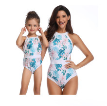 Mommy and Me Matching Swimwear Print Leafs Swimsuit