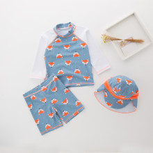 Kid Boys Print Fox Long Sleeve Top and Shorts With Swim Cap