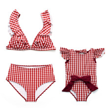 Mommy and Me Matching Swimwear Red Plaids Matching Swimsuit