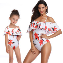 Mommy and Me Matching Swimwear Print Flowers Rufflles Swimsuit