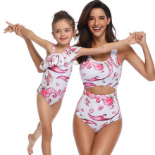 Mommy and Me Matching Swimwear Print Mermaids Rufflles Swimsuit