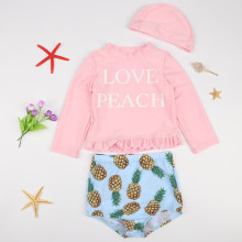 Kid Girls' Swimwear Sets Slogans Long Sleeve Top and Print Fruit Pineapples Shorts