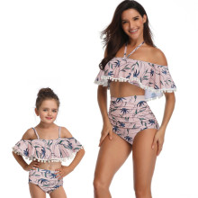 Mommy and Me Matching Swimwear Prints Leafs Rufflles Pom-pom Off Shoulder Bikini Swimsuit