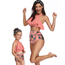 Mommy and Me Matching Swimwear Prints Leafs Rufflles Bikini Swimsuit