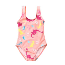 Kid Girls' Pink Print Dinosaurs  One Piece Beach Swimwear