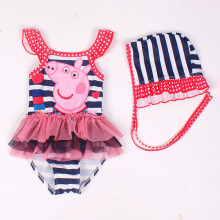 Baby Pink Pig Tutu Swimsuit With Swim Cap 0-4 Years