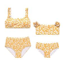 Mommy and Me Matching Swimwear Print Yellow Flowers Matching Swimsuit
