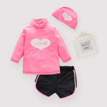 Girls' Long Sleeve Love Top and Shorts With Swim Cap