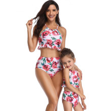 Mommy and Me Matching Swimwear Pink Rose Flowers Rufflles Bikini Swimsuit