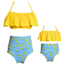 Mommy and Me Matching Swimwear Prints Yellow Bananas Rufflles Bikini Swimsuit