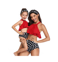 Mommy and Me Matching Swimwear Red Ruffles Dots Bikini Swimsuit