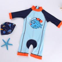 a2616abd44f9f Toddler Boys Print Fish Blue Swimsuit With Swim Cap