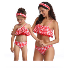 Mommy and Me Matching Swimwear Red Plaid Bikini Swimsuit