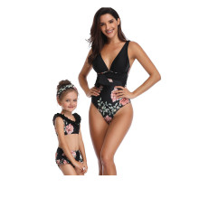 Mommy and Me Matching Swimwear Print Flowers Swimsuit