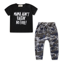 Boys Print Slogan Black T-shirts and Camouflage Pant Two-Piece Outfit