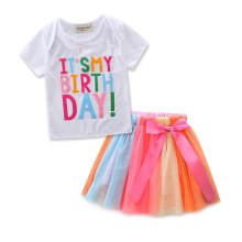 Girls Birthday T-shirt and Colorful Tutu Skirt Two-Piece Outfit