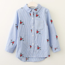 Girls Embroidery Flowers Stripes Long Sleeves Shirts