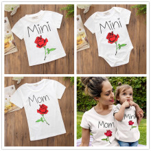 Family Matching Clothes Print Rose Tops