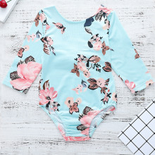 Baby Girl Print Flowers Long Sleeves Blue Bodysuit