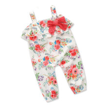 Girls Print Flowers Pink Bowknot Layers Ruffles Slip Jumpsuits
