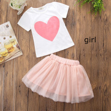Mommy and Me Pink Heart T-shirt and Tutu Skirt Two-piece Outfits