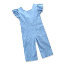 Girls Blue Ruffles Sleeves Denim Jumpsuits
