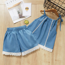 Girls Hollow Out Vest and Denim Lace Shorts Two-Piece Outfit