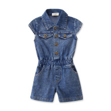 Girls Buttons Sleeveless Denim Jumpsuits